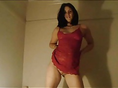 Curvy girl in red lace fucked in her tight box tubes