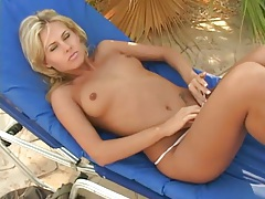 Tanned naked chick finger bangs and toy fucks outdoors tubes