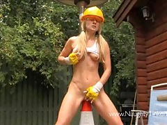 Naughty blonde tinkerbell has traffic cone sex in garden tubes