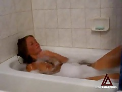 Amateur striptease and masturbation in bathtub tubes