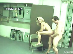 Blonde milf fucked by a coworker on voyeur cam tubes