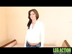 White sweater and jeans on a cute stripping girl tubes