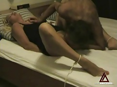 Tying his lady and fucking her missionary style tubes