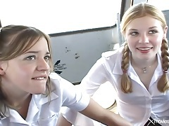 Schoolgirls on the bus suck cock and fuck tube
