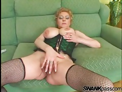 Naughty mommy in corset fucked by bbc tubes