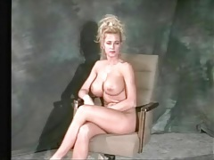 80s babe teases her big fake tits in close up tubes