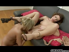 Silver dildo slides into a tight and wet lesbian ass tubes