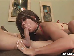 Horny asian babe gets face full of cum tubes