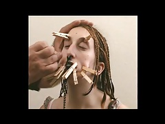 Cute amateur with clothes pins on her pretty face tubes