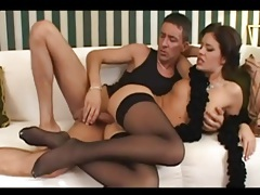 Anally fucking a cutie in black stockings tubes