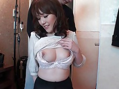 Sensual tit groping with a japanese beauty tubes
