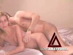 Pretty girl laid and sucking dick in homemade clip tubes