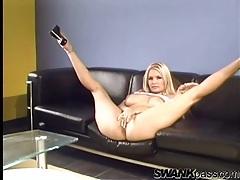 Blonde women do lingerie stripteases for us tubes
