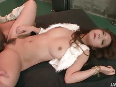 Booted japanese girl fucked in the steamy cunt tubes