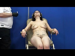 Brunette is wild for needle pain play tubes