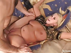 He ass fucks curvy blonde hard and she jiggles tubes