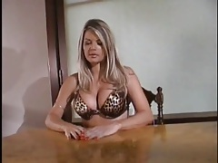 Vicky vette sucks dick in a beautiful leopard print bra tubes