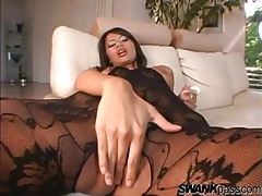 Masturbating babe in black lace body stocking tubes