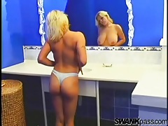 Chubby blonde girl takes a sexy shower tubes