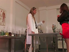 Lesbian scientist chicks in blouses have hot sex tubes