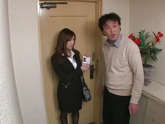 Kissing a cute japanese girl in satin blouse tubes