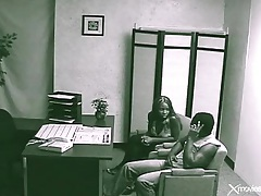 Blowjob for her boyfriend in back office of bank tubes