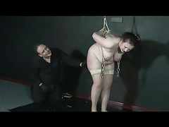 Fat bound slut with weights hanging from her tits tubes
