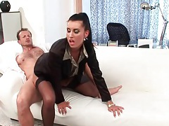 Stockings and blouse on chick grinding on his cock tubes