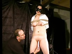 Dildo fucks pierced pussy of a tied up girl tubes