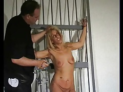 Bound girl takes a touch of nipple pain tubes