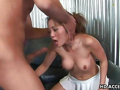Cock ramming down throat of slutty asian tubes