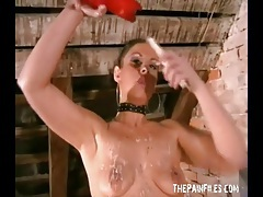 Girl likes hot wax on her tongue and stomach tubes