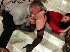 Fucking a beauty in red blouse from behind tubes