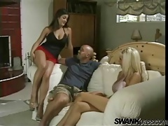 Two ladies present their cunts to him for licking tubes
