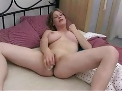 Horny hot girl with big titties has toy sex tubes