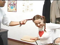 Teacher fucks and spanks this student in pigtails tubes