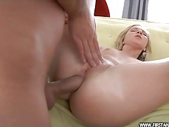 Skinny blonde girl likes a fat dick up the ass tubes