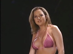 Slutty bikini girl with big titties sucks on dicks tubes