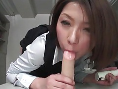 Hairy japanese vagina sits on a dildo tubes