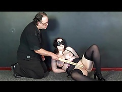 Bound girl in stockings does pain fun tubes