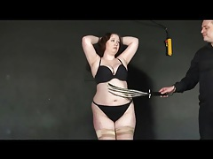 Fat chick stripped down and flogged hard tubes