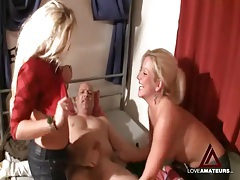 Girls suck out his cum and play with it tubes