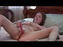 Dildo fuck girl with gorgeous big natural tits tubes