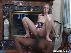 White girl in lingerie rides long black cock tubes