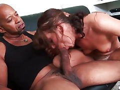Girl struggles to suck huge black cock tubes