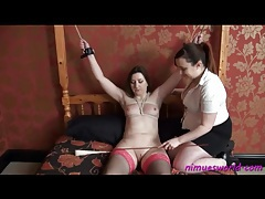 Cute girl tied up by her mistress tubes
