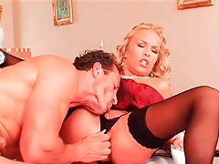 Big titty blonde in stockings sits on his cock tubes