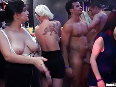 Dicks in cunts of sexy sluts around the bar tubes