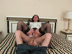 Sexy skirt and soft blouse on girl riding him tubes