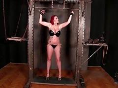 Bound girl in latex bikini gets flogged tubes
